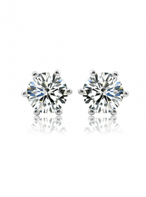 Moissanite Stud Earrings DEF Color Round Cut