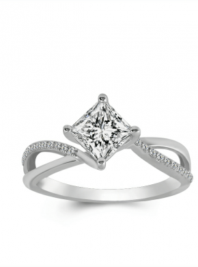 Infinity Twist Solitaire Princess Cut Ring