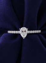 1ct Pear Cut Pave Setting Moissainte Engagement Ring (6)