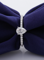 1ct Pear Cut Pave Setting Moissainte Engagement Ring (7)
