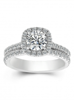 1ct Round Moissanite in Cushion Halo Engagement ring set (1)