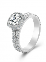 1ct Round Moissanite in Cushion Halo Engagement ring set (2)