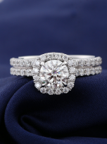 1ct Round Moissanite in Cushion Halo Engagement ring set (5)