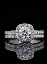 1ct Round Moissanite in Cushion Halo Engagement ring set (6)