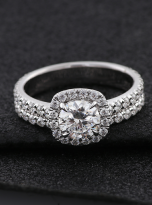 1ct Round Moissanite in Cushion Halo Engagement ring set (7)