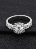 1ct Round Moissanite in Cushion Halo Engagement ring set (8)