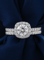 1ct Round Moissanite in Cushion Halo Engagement ring set (9)