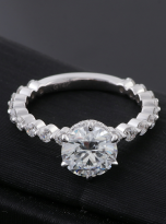 2ct Round 6-Prong Hidden Halo Moissanite Engagement Ring (5)