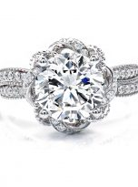 2ct Round Moissanite Twisted Cathedral Halo Engagement Ring (1)