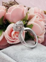 2ct Round Moissanite Twisted Cathedral Halo Engagement Ring (10)