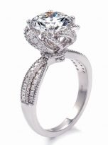 2ct Round Moissanite Twisted Cathedral Halo Engagement Ring (3)