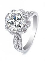 2ct Round Moissanite Twisted Cathedral Halo Engagement Ring (6)