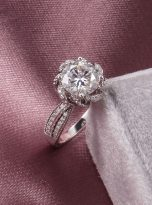 2ct Round Moissanite Twisted Cathedral Halo Engagement Ring (7)