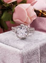 2ct Round Moissanite Twisted Cathedral Halo Engagement Ring (9)