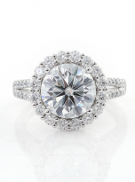 3ct Contemporary Moissanite Halo Engagement Ring (1)