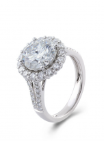 3ct Contemporary Moissanite Halo Engagement Ring (2)