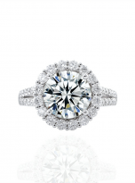 3ct Contemporary Moissanite Halo Engagement Ring (5)