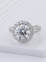 3ct Contemporary Moissanite Halo Engagement Ring (6)