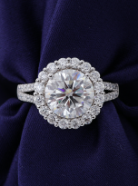 3ct Contemporary Moissanite Halo Engagement Ring (7)