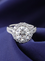 3ct Contemporary Moissanite Halo Engagement Ring (8)