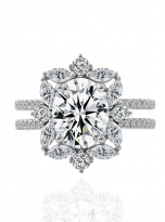 3ct Oval Moissanite Graduated Halo Engagement Ring (1)