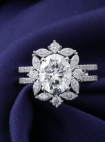 3ct Oval Moissanite Graduated Halo Engagement Ring (8)