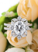 3ct Oval Moissanite Graduated Halo Engagement Ring (9)