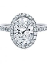 3ct Oval Moissanite Halo with Side Accents Engagement Ring (1)