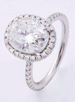 3ct Oval Moissanite Halo with Side Accents Engagement Ring (2)