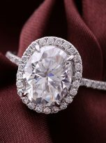 3ct Oval Moissanite Halo with Side Accents Engagement Ring (5)