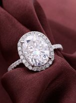 3ct Oval Moissanite Halo with Side Accents Engagement Ring (6)