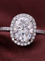 3ct Oval Moissanite Halo with Side Accents Engagement Ring (7)