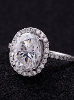 3ct Oval Moissanite Halo with Side Accents Engagement Ring (8)