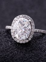 3ct Oval Moissanite Halo with Side Accents Engagement Ring (9)