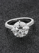 5ct Brilliant Round Pave Style Moissanite Engagement Ring (3)