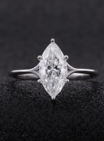 6-Prong 2ct Fancy Marquise Moissanite Solitaire Ring (7)