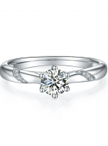 6 claw moissanite flower style solitaire ring (1)