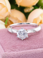 6 claw moissanite flower style solitaire ring (5)