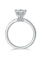 A simple and dainty round solitaire festuring six prongs (4)