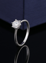 Classic 6 claw moissanite solitaire ring (5)