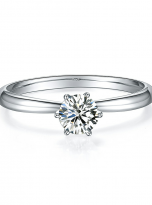 Classic elegant Tiffany style 6 claw moissanite solitaire ring (1)