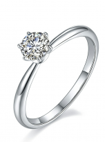 Classic elegant Tiffany style 6 claw moissanite solitaire ring (2)