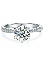 Elegant 6 claw round shaped moissanite solitaire ring (1)