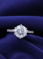Elegant 6 claw round shaped moissanite solitaire ring (11)