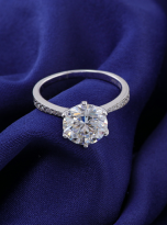 Elegant 6 claw round shaped moissanite solitaire ring (12)