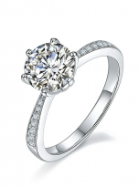 Elegant 6 claw round shaped moissanite solitaire ring (2)