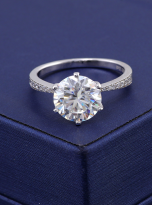 Elegant 6 claw round shaped moissanite solitaire ring (8)