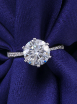 Elegant 6 claw round shaped moissanite solitaire ring (9)