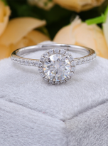 Elegant engagement ring featuring a tight halo (6)