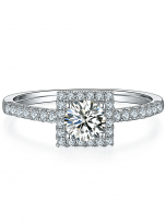 Halo engagement ring boasts a petite band (1)